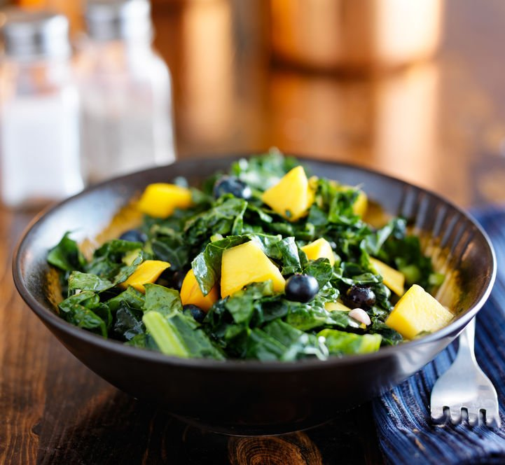 Kale salad with pineapple and blueberries