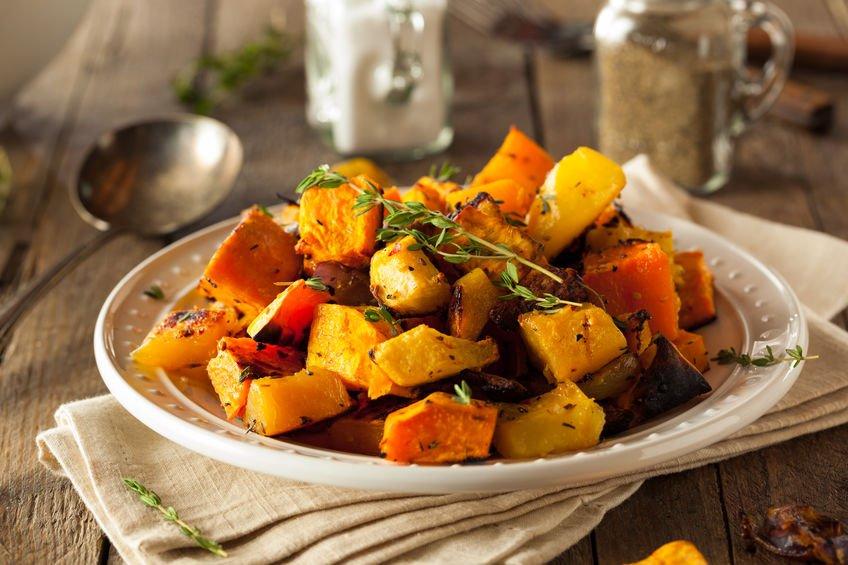 Plate of roast vegetables